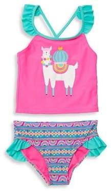 c823380e2e Breaking Waves Little Girl's Llama-Rama 2-Piece Printed Tankini Swim Set