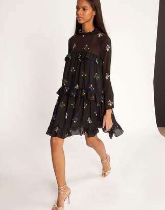 Cynthia Rowley High Tide Tiered Ruffle Knee Length Dress