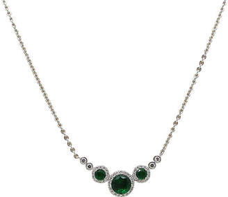 One Kings Lane Vintage Faux-Emerald & Diamond Delicate Necklace
