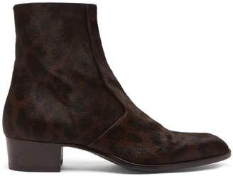 Saint Laurent Wyatt 40 pony hair and leather ankle boots