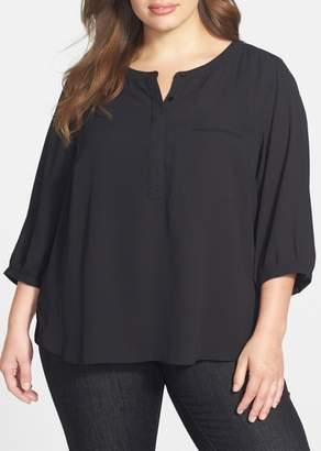 NYDJ 3\u002F4 Sleeve Henley Top (Plus Size)