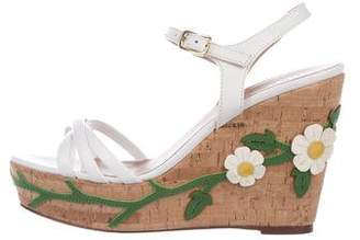 RED Valentino Leather Platform Wedges