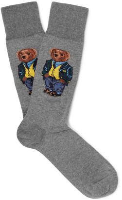 Polo Ralph Lauren Bear-Intarsia Stretch Cotton-Blend Socks