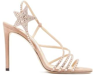 Jimmy Choo Lynn 100 Crystal Embellished Suede Sandals - Womens - Nude