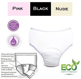 Comfort Finds Ladies Reusable Incontinence Panty 6oz 3-Pack Assorted Colors