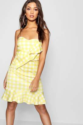 boohoo Aisha Gingham Bow Front Frill Hem Mini Dress