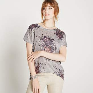 Apricot Wildflower Bouquet Slub Knit Top