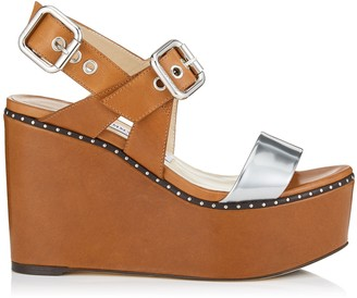 Jimmy Choo ALTON 100 Tan Vacchetta and Silver Liquid Mirror Leather Wedges