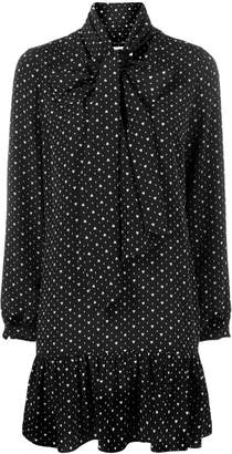 Saint Laurent pussy bow heart print dress