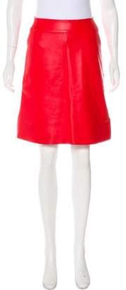 Akris Leather A-Line Skirt
