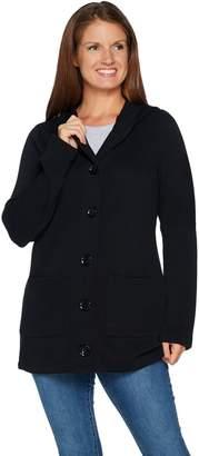 Denim & Co. Button Front Long Sleeve Flat Back Rib Jacket w/ Hood