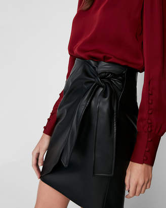 Express Minus The) Leather High Waisted Wrap Front Skirt