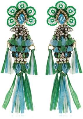 Shourouk Parrots Green Earrings