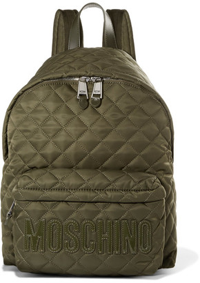 Moschino - Patent Leather-trimmed Quilted Shell Backpack - Army green $595 thestylecure.com