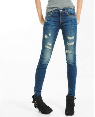 Express mid rise dark wash distressed stretch jean leggings