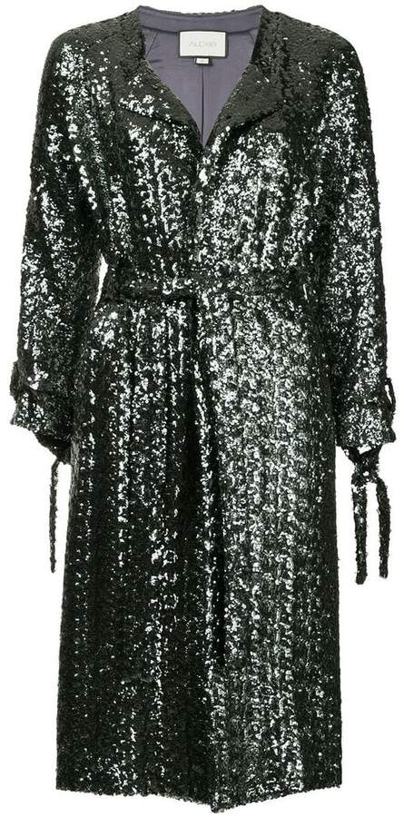 sequined belted coat