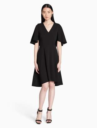 Calvin Klein v-neck flutter sleeve a-line dress