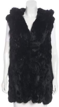 Adrienne Landau Fur Hooded Vest