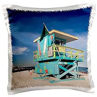 South Beach 3dRose USA, Florida, Miami Beach, South Beach, colorful lifeguard tower., Pillow Case, 16 by 16-inch