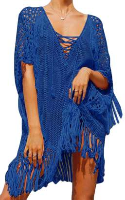 XiaoTianXin-women clothes XTX Women's V-Neck Lace-up Hollow Out Tassel Cover UPS Plus Size Loose Beach Dress