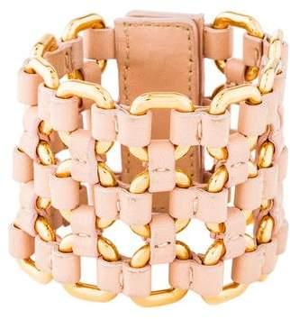 Miu Miu Woven Leather & Chain Cuff Bracelet