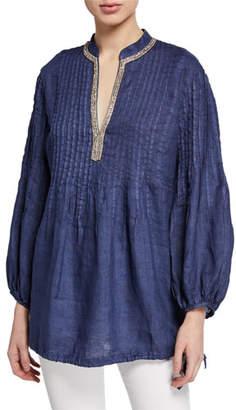 120% Lino Mandarin Collar Long-Sleeve Pintucked Poet Shirt w/ Drawstring Hem