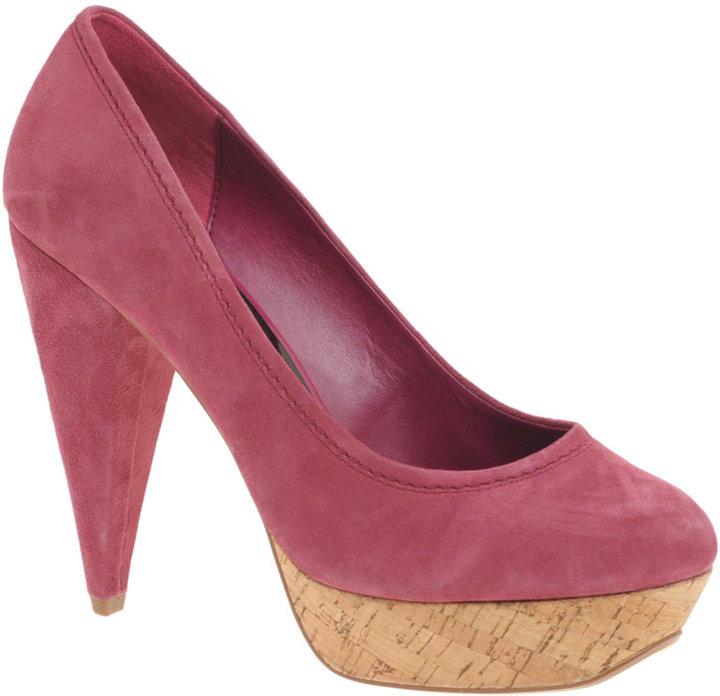ASOS PUNTY Suede Cork Platform Court Shoe