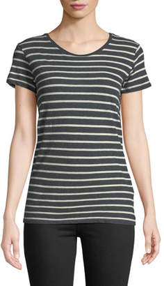Neiman Marcus Majestic Paris for Striped Cotton-Cashmere Crewneck Tee