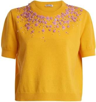 Miu Miu Floral-embellished crew-neck cashmere sweater