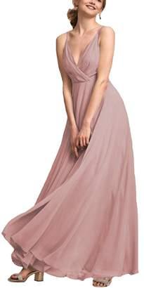 Heypen Women's Long Maxi Chiffon Country Bridesmaid Dresses Deep V-Neck Gowns