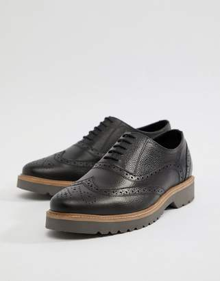 Ben Sherman Scotch Grain Brogues In Black Leather