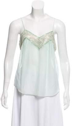 Chloé Sequin Embellished Silk-Blend Top