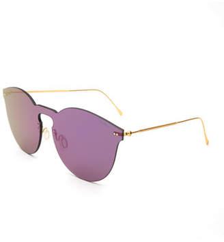Illesteva Round Mirrored Mask Sunglasses, Purple