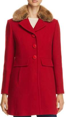 Kate Spade Twill Faux Fur Trim Coat - 100% Exclusive