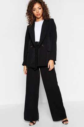 boohoo High Waisted Tort Shell Belt Wide Leg Trouser