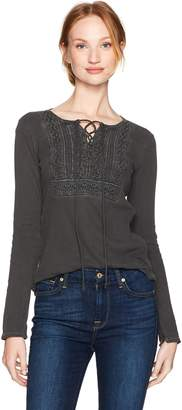 Lucky Brand Women's Lace Up Bib Thermal Top