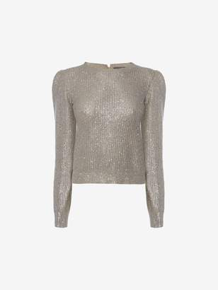 Alexander McQueen Metallic Foil Knit Sweater