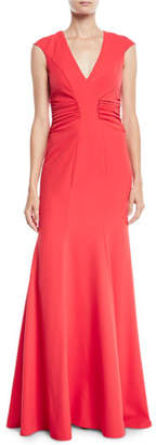 Halston Crepe Gown w/ Ruched Details