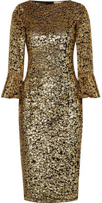 Michael Kors Sequinned Tulle Midi Dress - Gold
