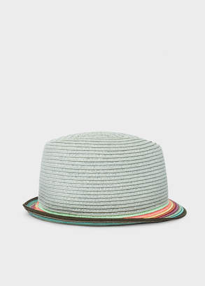 Paul Smith Men's Light Blue Trilby Hat With 'Artist Stripe' Brim