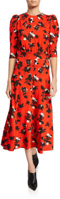 Derek Lam Floral-Print Puff-Sleeve Midi Dress