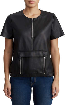 True Religion WOMENS VEGAN LEATHER ZIPPERED SHORT SLEEVE TOP