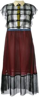 Marco De Vincenzo sheer pleated short sleeve dress