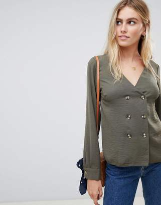 New Look double breasted blouse in khaki