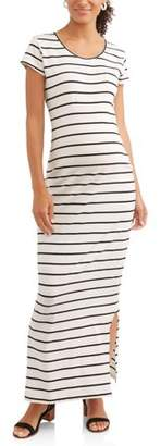 Oh! Mamma Maternity Cap Sleeve Scoop Neck Stripe Dress with Self Tie-- Available In Plus Sizes