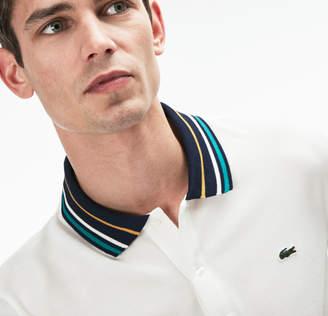 Lacoste Men's Slim Fit Striped Contrast Collar Petit Pique Polo
