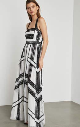 BCBGMAXAZRIA Two-Tone Scalloped Lace Gown