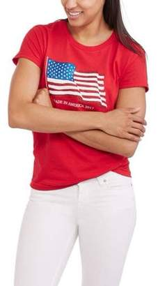 Americana Women's Short Sleeve Crewneck 2017 Flag Graphic T-Shirt