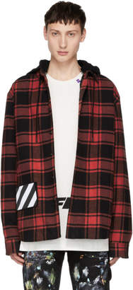 Off-White Red Check Padded Hoodie Shirt