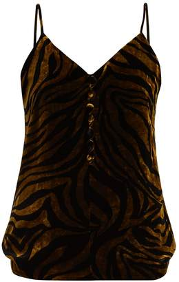 HILLIER BARTLEY Zebra-print velvet cami top